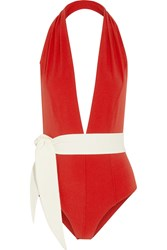 Lisa Marie Fernandez Riri Two Tone Swimsuit Red