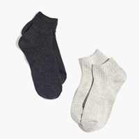 Madewell Two Pack Ribbed Heather Ankle Socks Grey Black