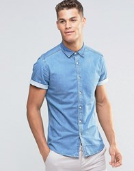 Asos Skinny Denim Shirt In Mid Wash With Short Sleeves Mid Wash Blue