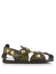 Acne Studios Oline Snake Effect Leather Sandals Khaki