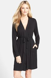 Women's Dkny 'City Essentials' Short Robe Black