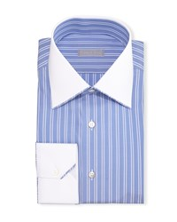 Stefano Ricci Contrast Collar Bold Stripe Dress Shirt Blue Men's