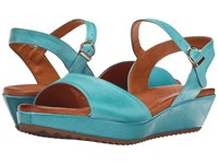 Sesto Meucci 325 Turquoise Cesa Kid Women's Wedge Shoes Blue
