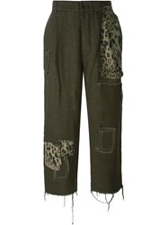 Heikki Salonen Patched Cropped Trousers Green