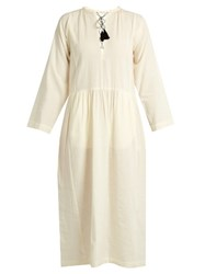 Masscob Lace Up Wool And Linen Blend Dress Ivory