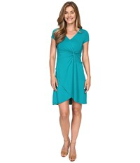 Mod O Doc Cotton Modal Spandex Faux Wrap Twist Front Dress Dark Jade Women's Dress Green