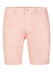 Topman Pink Peach Slim Denim Shorts