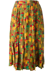 Jean Louis Scherrer Vintage Floral Pleated Skirt Multicolour