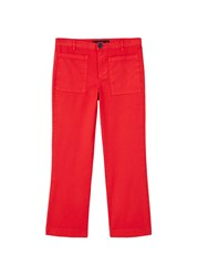 Mango Cotton Crop Trousers Red