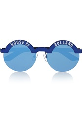 House Of Holland Brow Beater Round Frame Metal Mirrored Sunglasses Blue