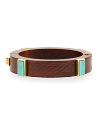 Wood And Turquoise Cubist Cuff Bracelet Multi Colors Lizzie Fortunato