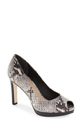 Women's Via Spiga 'Brandy' Peep Toe Pump Black Snake Print Leather