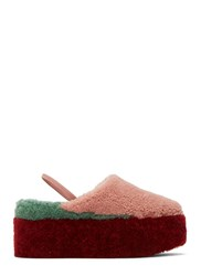 Fendi Shearling Colour Blocked Platform Slippers Pink