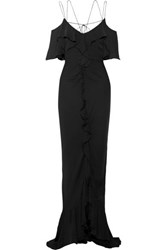Emilio Pucci Ruffled Silk Georgette Gown Black