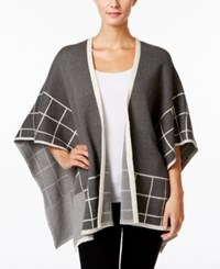 Charter Club Windowpane Poncho Cardigan Only At Macy's Charcoal Heather