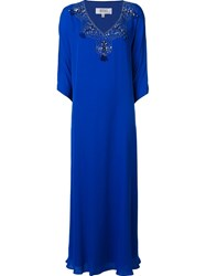 Badgley Mischka Long Embellished Dress Blue