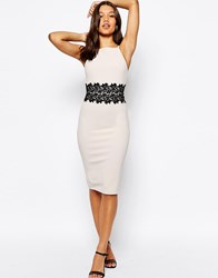 Asos Textured Pencil Dress With Lace Waist Panel Mink Pink