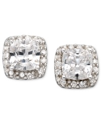 B. Brilliant Sterling Silver Earrings Cubic Zirconia Pave Stud Earrings 1 3 4 Ct. T.W.