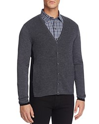 Zachary Prell Merino Wool Color Block Cardigan Sweater Charcoal