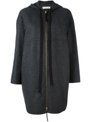 Marni Hooded Zip Coat Grey
