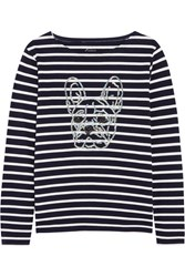 J.Crew Sequin Embellished Striped Cotton Jersey Top Midnight Blue