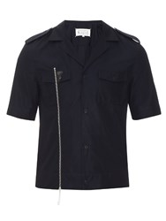 Maison Martin Margiela Zip Front Cotton Shirt Navy