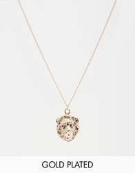 And Mary Gold Plated Necklace With Lion Head Charm