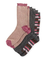 Neiman Marcus Three Pair Wardrobe Sock Set Assorted Pink Gray