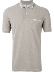Brunello Cucinelli Piped Polo Shirt Grey