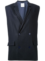 Each X Other Double Breasted Pinstripe Vest Blue