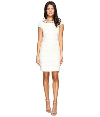 Vince Camuto Short Sleeve A Line Shift Dress With Beaded Neckline Ivory Women's Dress White