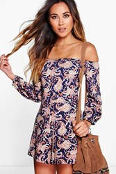 Boohoo Off The Shoulder Paisley Print Playsuit Multi