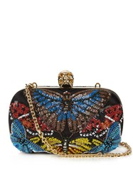 Alexander Mcqueen Butterfly Embellished Satin Clutch Black Multi
