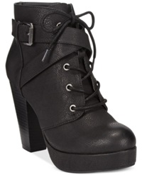 Material Girl Rhodes Lace Up Platform Booties Women's Shoes Black