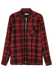 J. Lindeberg Jonah Checked Wool Blend Jacket Red