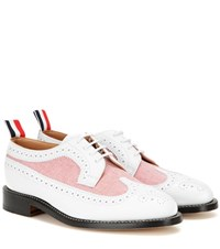 Thom Browne Leather And Fabric Brogues White