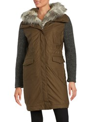 Vera Wang Brie Single Breasted Anorak With Faux Fur Trim And Knit Sleeves Khaki