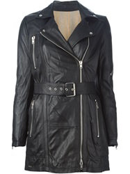 Sword Long Biker Jacket Black