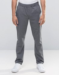 Asos Slim Trousers With Elastic Waistband Grey