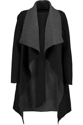 Donna Karan Draped Wool Blend Coat Black
