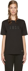 Versus Black Embroidered Logo T Shirt