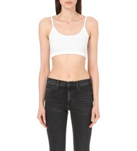 Helmut Lang Ribbed Stretch Jersey Bra Top Optic White