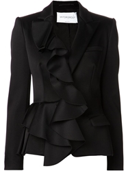 Viktor And Rolf Ruffled Front Blazer Black