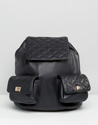 Asos Quilted Backpack With Chain Handle Black