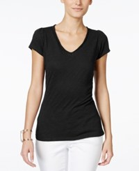 Inc International Concepts Petite V Neck Tee Deep Black