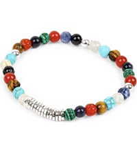Tateossian Silver Disc Beaded Bracelet Multi