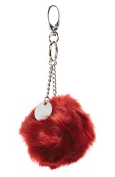 Topshop Women's Faux Fur Pompom Key Ring Red