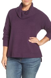 Caslonr Plus Size Women's Caslon Rib Detail Relaxed Turtleneck Sweater Heather Purple Italian