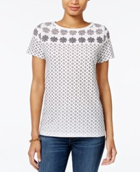 Tommy Hilfiger Fiona Printed T Shirt Only At Macy's Bright White Print