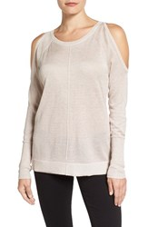 Vince Camuto Women's Metallic Knit Cold Shoulder Sweater